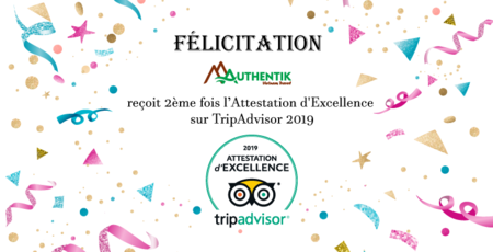 Authentik Vietnam et sa 2ème Attestation d'Excellence sur TripAdvisor 2019