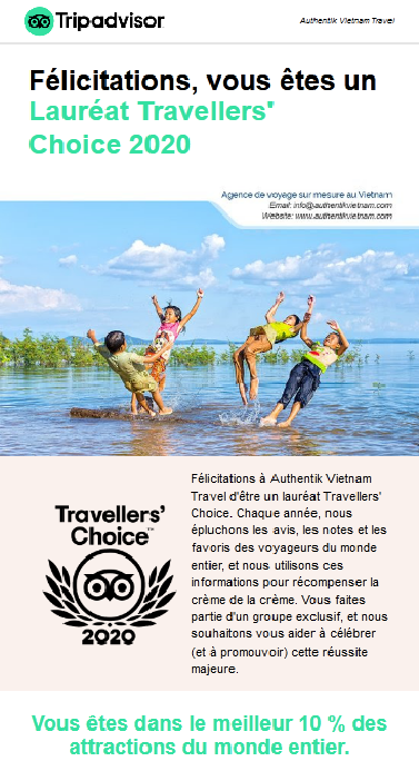 Authentik Vietnam lauréat Travellers' Choice 2020 Tripadvisor