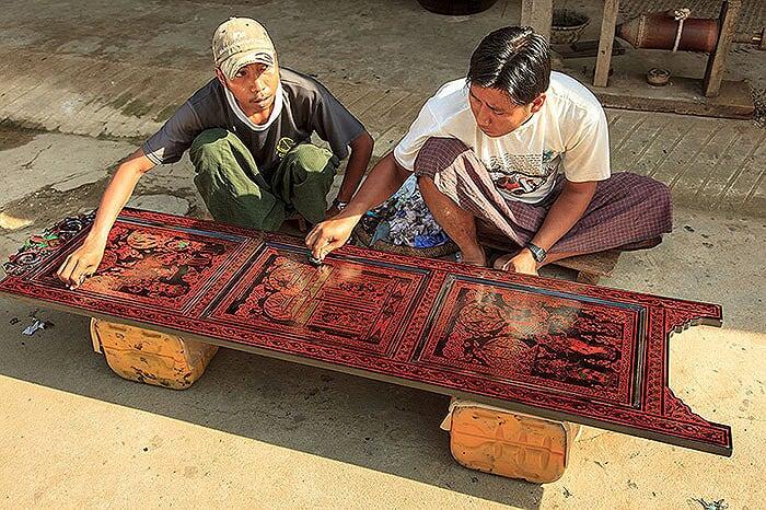 artisanat de Birmanie laque