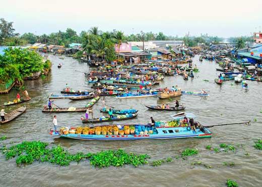 visiter vietnam delta mekong marche flottant